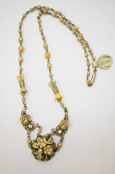 Pretty vintage necklace with filigree, pearls and paste, early 1920s.  Firedrake Jewellery & Antiques.