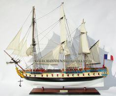 Wooden ship model La Fayette Hermione ready for display