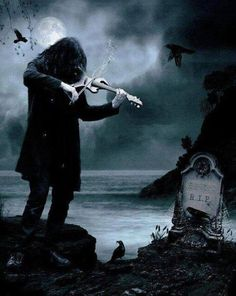 ~Gothic Art fiddler by a grave