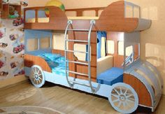 colorful furniture in boys room | Car shaped bunk beds, brown and blue decor colors, functional children ...