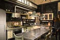 Kitchen at Maison & Objet Paris home show Tin Ceiling Kitchen, Kitchen Dining, Blackboard Wall, Kitchen Chalkboard, Paris Kitchen, Paris Home, Interior Decorating, Interior Design, Cool Kitchens