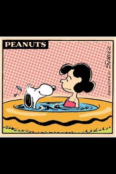 Peanuts...Poor Snoopy! Lucy looks like she found a warm spot in the pool! :)