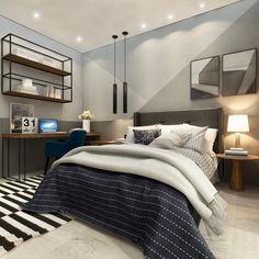 Apartamento decorado: 50 ambientes LINDOS para inspirar a sua decoração Bedroom Wall Designs, Boys Bedroom Decor, Modern Room, Little Houses, New Room, Small Apartments, Interior Design Kitchen, New Homes, Furniture