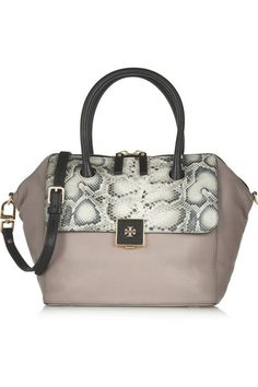Tonal-gray snake-effect leather, taupe and black textured-leather (Cow) Two-way zip fastening along top Comes with dust bag