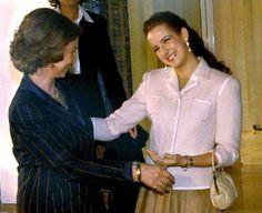 Queen Sofia of Spain greets Lalla Salma Of Morocco