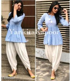Beautiful Kurti & Dhoti Set at reasonable price Cash on delivery available Order now Casual Indian Fashion, Indian Fashion Dresses, Pakistani Dresses Casual, Dress Indian Style, Pakistani Dress Design, Indian Latest Fashion, Patiala Suit Designs, Kurta Designs Women, Kurti Designs Party Wear