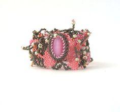 Beaded jewelry, Beadwork bracelet, Seed bead jewelry bracelet, Freeform peyote bracelet, pink and gray grey bracelet by ibics