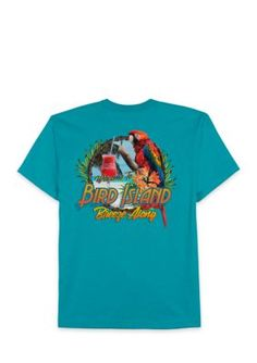 Saddlebred Men's Bird Island Welcome Tee Shirt - Tropical Blue - 2Xlt