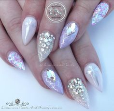 Pastel Goth ✝️... Sculptured Acrylic with GFA M06 & C32, Glitter Heaven Candy Coated, INM Northern Lights Collection Pink, Rhombus Swarovski Crystals, MoYou London Stamping. #pastel #goth #lilac #softwhite #silver #pretty #quality #stunning #gorgeous #acrylic #gel #nailartist #icing #frosting #luminous #luminousnails #byteena #goldcoast #queensland #australia