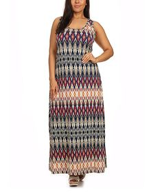 Look at this #zulilyfind! BellaBerry USA Blue & Pink Geometric Maxi Dress - Plus by BellaBerry USA #zulilyfinds