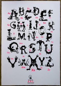Monster ABC Screenprint by pinipiru on Etsy, €35.00