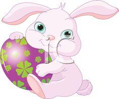 Small lovely Easter rabbit holds Easter Egg
