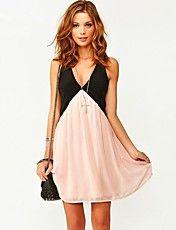 vrouwen contrasterende kleur v-hals mini jurk met open rug