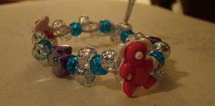 Custom Teddy Bears Staggered Kandi Bracelet with Flower Beads by pandoraxsage, $4.00