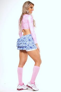 meia meião cano longo alto rosa aeróbica - hipkini by juju
