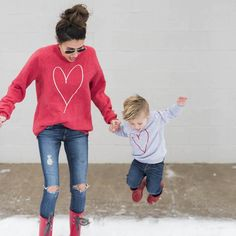 Autumn Style Family Match Clothes Long Sleeve Heart Print Woman Kids Boy Girl T-shirt Tops Outfit Matching Clothing