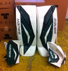 Another custom set of Bauer pads from Total Goalie!  Order your own custom set today at http://goalie.totalhockey.com/ or visit one of our stores!