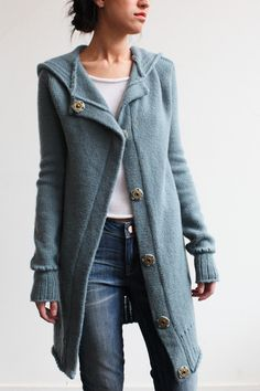 Souchi - Julia Cashmere Hooded Cardigan Coat