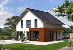 Style 147 S - Baufritz - http://www.hausbaudirekt.de/haus/style-147-s/ - Fertighaus als Einfamilienhaus Modernes Haus Stadthaus mit Satteldach