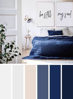 Best Living Room Color Schemes Idea [To Date] navy blue and neutral bedroom color palette Blue Bedroom Colors, Dark Blue Bedrooms, Bedroom Colour Palette, Bedroom Colour Schemes Neutral, Navy Bedrooms, Grey Color Schemes, Color Palette Blue, Grey Bedroom With Pop Of Color, Bedroom Neutral