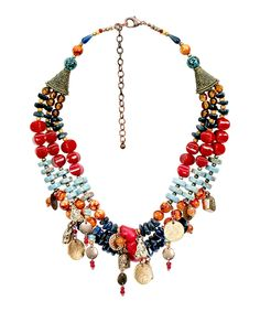 Look at this Red & Blue Three-Strand Coin Necklace on #zulily today!