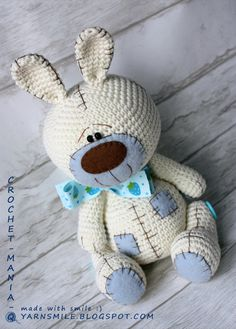 crochet toy teddy bunny rabbit with patches by crochetmaniaq