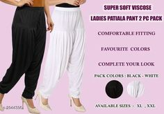 Ethnic Bottomwear - Patiala Pants Fabulous Viscose Women's Patiala Pant Combo Fabric: Viscose  Size: XL - 24 in - 32 in XXL - 26 in - 34 in Length: XL - 40 in XXL - 41 in Type: Stitched Description: It Has 2 Pieces Of Patiala Pants Colour: Black - White Pattern: Solid Country of Origin: India Sizes Available: XL, XXL   Catalog Rating: ★4 (458)  Catalog Name: Fabulous Viscose Women's Patiala Pant Combo Vol 17 CatalogID_401240 C74-SC1018 Code: 943-2944398-