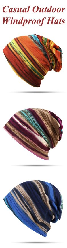 Women Cotton Stripe Beanie Casual Outdoor Windproof Hats For Both Cap And Scarf Use