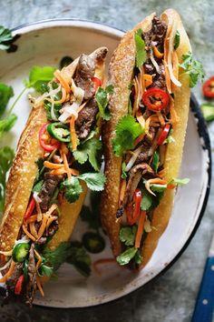 Grilled Beef Banh Mi - 2020 My Cooking Ideas Vietnamese Recipes, Asian Recipes, Beef Recipes, Cooking Recipes, Healthy Recipes, Ethnic Recipes, Vietnamese Food, Vietnamese Sandwich, Kefir Recipes