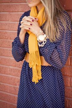 386. long sleeved dress, mustard scarf, wide brown belt