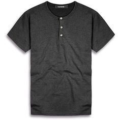 FLATSEVEN Mens Casual Slim Fit Henley Shirts With Short Sleeve ($21) ❤ liked on Polyvore featuring men's fashion, men's clothing, men's shirts, men's casual shirts, mens slim fit casual shirts, mens casual short-sleeve button-down shirts, mens slim fit short sleeve shirts and mens casual short sleeve shirts