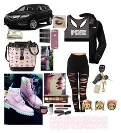 """Going out with Tyrell"" by haileycouture ❤ liked on Polyvore featuring moda, MCM, Victoria's Secret, The North Face, Akira, Monki, Bobbi Brown Cosmetics, Moschino, Tory Burch ve women's clothing"