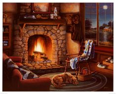 Fireplace designs for cabins and cottages are what dreams are made of. Few things are as magical and comforting as relaxing beside a crackling fire in a cozy cabin hearth! Thomas Kinkade, Cozy Fireplace, Fireplace Design, Christmas Fireplace, Fireplace Candles, Craftsman Fireplace, Simple Fireplace, Fireplace Bookshelves, Fireplace Cover