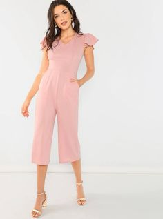 To find out about the Ruffle Trim Culotte Jumpsuit at SHEIN, part of our latest Jumpsuits ready to shop online today! Bridal Jumpsuit, Jumpsuit Dress, Playsuits, Jumpsuits, Pink Patterns, Ruffle Trim, Fashion News, Going Out, Rompers