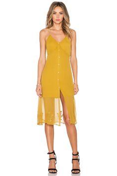 For Love & Lemons Prickly Pear Dress in Mustard Gold
