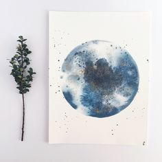 Dripping Moon Watercolor Print indigo by WildPeonyCo on Etsy