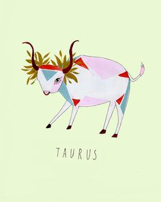 Artist Katy Smail has created a lovely series of illustrations that feature the 12 animals of the zodiac. For her zodiac illustrations,. Zodiac Art, Zodiac Signs, Taurus Art, Taurus Quotes, Zodiac Taurus, Birthday Postcards, Illustration Artists, Illustrators, Cute