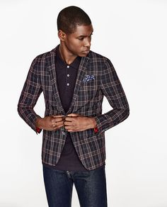 Image 3 of CHECKED BLAZER WITH RED OUTLINE from Zara