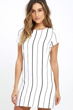 It's looking like a great day is on the horizon thanks to the So Perfect Ivory Striped Shift Dress! Ivory woven rayon has a black striped print over a bateau neckline, short sleeves, and darted shift bodice. Exposed gold back zipper. Belt not included.