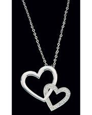 Double Heart with CZ Necklace,