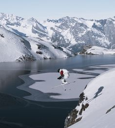 This jump looks dangerous but seems to be great for extreme skiing! #LiveBeautifully this #Winter and push yourself to new heights.