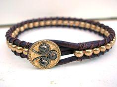 Leather wrap bracelet antique Victorian button by 3DivasStudio