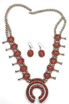 Vintage Zuni Sterling Silver Double Sided Red Coral Turquoise Petit Point Squash Blossom Necklace and Earrings $2200.00
