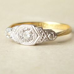 Antique Engagement Ring, Art Deco Diamond Ring, Platinum 18k Gold Ring, Diamond Platinum 18k Gold Wedding Ring Approx. Size US 5.25. $468.00, via Etsy.