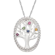Zales Mothers Simulated Birthstone Family Tree Pendant in Sterling Silver (1-10 Stones) VH8ac