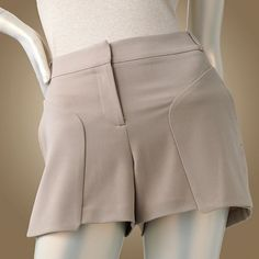 Jennifer Lopez JLo Tuffet Goat Tan Brown Dress Shorts #JLo #DressShorts