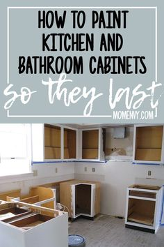 How to paint kitchen cabinets? Learn how to paint kitchen cabinets so they last. Painting kitchen cabinets white can really brighten up a drab kitchen. Learn how to DIY paint your kitchen cabinets. Kitchen Cabinets In Bathroom, Kitchen Paint, Kitchen Redo, New Kitchen, Kitchen Appliances, Hidden Kitchen, Kitchen Ideas, How To Refinish Kitchen Cabinets, Diy Painting Kitchen Cabinets