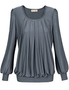 Timeson Womens Long Sleeve Scoop Neck Pleated Front Fitted Blouse Top XLarge Grey >>> You can find more details by visiting the image link.
