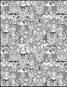 All kinds of owls to color...  pass the markers,  please!