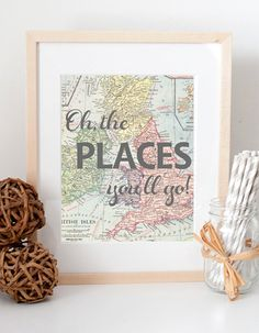 Oh, the places you'll go Dr. Seuss vintage map print for nursery or kid's room baby shower new mom gift